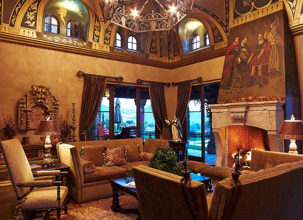 Interior luxury home with religious icon art work .