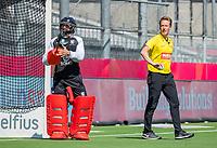 ANTWERPEN -  Scotland-England . Belfius Eurohockey Championship (men) hockey.   scheidsrechter Jonas van 't Hek. met Thomas Alexander (Sco)  COPYRIGHT KOEN SUYK