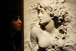 "© Licensed to London News Pictures. 10/02/2017. London, UK.  A staff member views ""Ophelia"" by Sarah Bernhardt (est. GBP 50-70k), at the preview of the ""Erotic: Passion & Desire"" sale at Sotheby's in New Bond Street.  The sale, which will take place on 16 February, encompasses representations of love and sex from antiquity to the present day.  Photo credit : Stephen Chung/LNP"