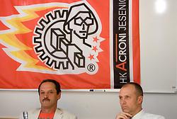 Zvone Suvak and Slavko Kanalec  at press conference of HK Acroni Jesenice before new season 2009/2010, on July 23 2009, in Jesenice, Slovenia. (Photo by Vid Ponikvar / Sportida)
