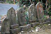 Sekibutsu statues near the side of the road Kamakura Japan