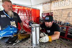 Nick Beaulieu of Forever Two Wheels Maine does a demo for the Grease and Gears tour at the Laconia Roadhouse during Laconia Motorcycle Week. NH, USA. Wednesday, June 13, 2018. Photography ©2018 Michael Lichter.