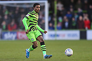 Forest Green Rovers Jevani Brown, on loan from Colchester United(16) passes the ball forward during the EFL Sky Bet League 2 match between Forest Green Rovers and Salford City at the New Lawn, Forest Green, United Kingdom on 18 January 2020.