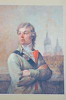 Portrait of Kosciuszki in the clock tower in Krakow Poland