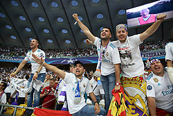 May 26, 2018 - Kiev, Ukraine - Real Madrid fans and supporters entertain at NSC Olipiyskyi stadium in Kyiv, Ukraine, May 26, 2018 before the UEFA Champions League Final kicks off. (Credit Image: © Sergii Kharchenko/NurPhoto via ZUMA Press)