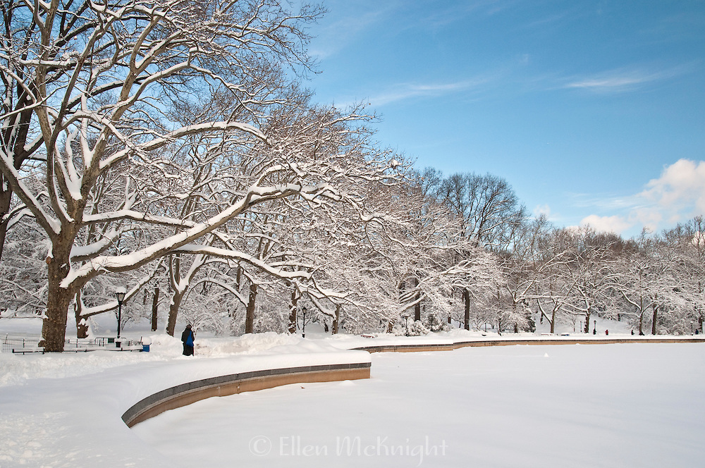 The Model Boat Pond, also known as the Conservatory Water, in Central Park, NYC after a snowfall