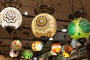 Turkish lanterns lamps in window of lighting and gift shop in Kucukayasofya Caddesi in Sultanahmet, Istanbul, Turkey