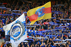 Hoffenheim fans wave flags in the stands