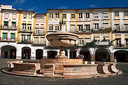 PORTUGAL, ALENTEJO AREA Evora, buildings lining the Praca Do Giraldo, the town's main square