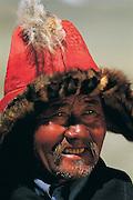 Kazakh eagle hunter<br /> Mongolia's largest ethnic minority<br /> near Tsengel Khairkhan Mtn.<br /> Western Mongolia