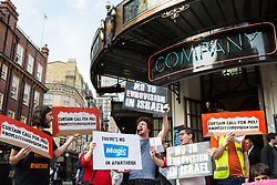 London, UK. 30th March, 2019. Activists from London Palestine Action sing reworded Eurovision songs at a protest outside the Gielgud Theatre where Mel Giedroyc is appearing in the musical Company to call on her to withdraw from hosting Eurovision 2019 in Tel Aviv in recognition of the Palestinian call for a cultural boycott of Israel and in order not to assist with the 'culturewashing' of Israeli human rights abuses.