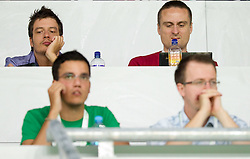Journalists Dario Dotto, Rok Viskovic and Rok Plestenjak of Siol Sportal during the opening friendly football match at a new stadium in Stozice between National teams of Slovenia and Australia on August 11, 2010 in Ljubljana. Slovenia defeated Australia 2-0. (Photo by Vid Ponikvar / Sportida)