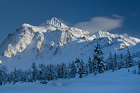 Mount Shuksan in winter. Seen from Picture Lake, Heather Meadows Recreation Area. North Cascades