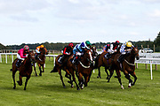 Bay Watch ridden by Tyler Heard and trained by Tracey Barfoot-Saunt, Show Me The Bubbly ridden by Gavin Ashton and trained by John O'Shea, Nibras Again ridden by Kieran Shoemark and trained by Paul Midgley, Storm Melody ridden by Kieran O'Neill and trained by Ali Stronge, Coronation Cottage ridden by Charlie Bennett and trained by Malcolm Saunders, King Crimson ridden by Darragh Keenan and trained by Sean Curran, Ghepardo ridden by Daniel Muscutt and trained by Patrick Chamings, Crime of Passion ridden by Saffie Osborne and trained by Jamie Osborne, Essaka ridden by Sophie Ralston and trained by Tony Carroll in the Attheraces.co.uk Handicap - Mandatory by-line: Robbie Stephenson/JMP - 18/07/2020 - HORSE RACING- Bath Racecourse - Bath, England - Bath Races 18/07/20