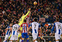 Atletico de Madrid's player Diego Godín and Kevin Gameiro and RCD Espanyol player Aaron, Diego Lopez, Gerard Moreno and David Lopez during match of La Liga between Atletico de Madrid and RCD Espanyol at Vicente Calderon Stadium in Madrid, Spain. December 03, 2016. (ALTERPHOTOS/BorjaB.Hojas)