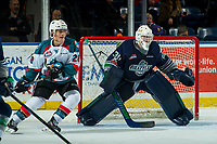 KELOWNA, CANADA - JANUARY 5: Liam Hughes #30 of the Seattle Thunderbirds defends the net as Leif Mattson #28 of the Kelowna Rockets looks for the pass on January 5, 2017 at Prospera Place in Kelowna, British Columbia, Canada.  (Photo by Marissa Baecker/Shoot the Breeze)  *** Local Caption ***