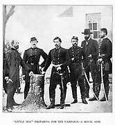 A picture taken in the fall of 1861, when George Brinton McClellan was at the headquarters of General George W. Morell (who stands at the extreme left), commanding a brigade in Fitz John Porter s Division. from the book ' The Civil war through the camera ' hundreds of vivid photographs actually taken in Civil war times, sixteen reproductions in color of famous war paintings. The new text history by Henry W. Elson. A. complete illustrated history of the Civil war