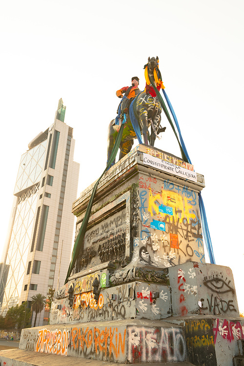 Santiago, Chile – March 01. 2020:  The destruction of Zone Zero, the area of downtown where daily protest, marches and confrontation with the police had taken place after the social crisis that started in October 2019.
