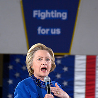 Democratic candidate for President Hillary Clinton speaks at a rally on the campus of Westmoreland County Community College on the eve of the Pennsylvania primary election in Youngwood, Pennsylvania near Pittsburgh on April 25, 2016.   Photo by Archie Carpenter/UPI