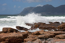 Waves breaking on the rocks, St James, Cape Town, Western Cape Province, South Africa