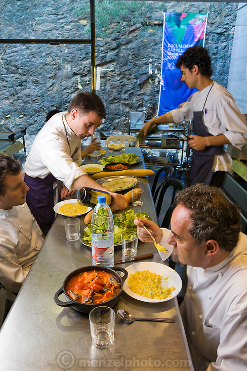 Ferran Adrià, chef of El Bulli restaurant near Rosas on the Costa Brava in Northern Spain during the afternoon staff meal. (Ferran Adrià is featured in the book What I Eat: Around the World in 80 Diets.)