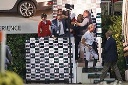 Team Belgium, Demeersman Dirk, Philippaerts Olivier, Melchior Judy Ann, Lansink Jos, Philippaerts Ludo, Rydant Hymne<br /> Final<br /> Furusiyya FEI Nations Cup Jumping Final - Barcelona 2015<br /> © Dirk Caremans<br /> 26/09/15