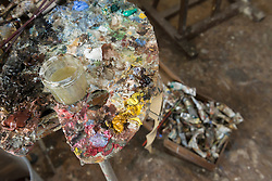 Close-up of messy painting palette, Bavaria, Germany