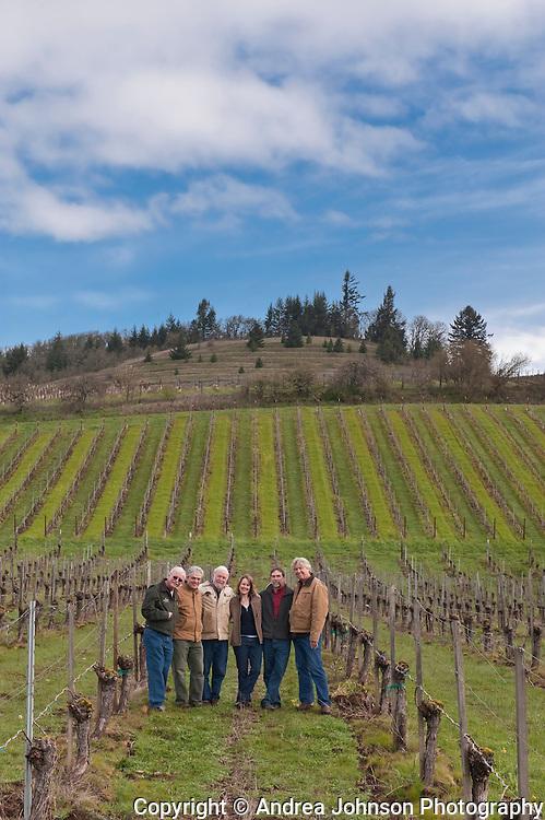 Oregon winemakers - Terry Casteel, Bethel Height; Ken Wright; Ted Casteel, Bethel Heights; Lynn Penner-Ash; Steve Doerner, Cristom; Laurant Montalieu, Solena, at Bethel Heights Vineyard in Eola Hills, Willamette Valley, Oregon