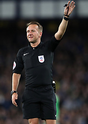 """Match referee Martin Langford during the Carabao Cup, Third Round match at Goodison Park, Liverpool. PRESS ASSOCIATION Photo. Picture date: Wednesday September 20, 2017. See PA story SOCCER Everton. Photo credit should read: Nick Potts/PA Wire. RESTRICTIONS: EDITORIAL USE ONLY No use with unauthorised audio, video, data, fixture lists, club/league logos or """"live"""" services. Online in-match use limited to 75 images, no video emulation. No use in betting, games or single club/league/player publications"""