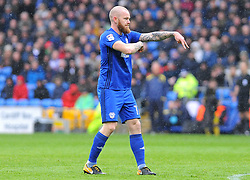 Aron Gunnarsson of Cardiff City gives orders - Mandatory by-line: Nizaam Jones/JMP- 30/03/2018 -  FOOTBALL -  Cardiff City Stadium- Cardiff, Wales -  Cardiff City v Burton Albion - Sky Bet Championship