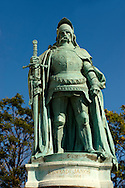 Statue of Hunyadi Lajos (1466 - 1452) H?sök tere, ( Heroes Square ) Budapest Hungary .<br /> <br /> Visit our HUNGARY HISTORIC PLACES PHOTO COLLECTIONS for more photos to download or buy as wall art prints https://funkystock.photoshelter.com/gallery-collection/Pictures-Images-of-Hungary-Photos-of-Hungarian-Historic-Landmark-Sites/C0000Te8AnPgxjRg