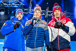 22.02.2019, Medal Plaza, Seefeld, AUT, FIS Weltmeisterschaften Ski Nordisch, Seefeld 2019, Langlauf, Herren, Sprint, Siegerehrung, im Bild v.l. Silbermedaillengewinner Federico Pellegrino (ITA), Weltmeister und Goldmedaillengewinner Johannes Hoesflot Klaebo (NOR), Bronzemedaillengewinner Gleb Retivykh (RUS) // f.l. Silver medalist Federico Pellegrino of Italy World champion and Gold medalist Johannes Hoesflot Klaebo of Norway Bronce medalist Gleb Retivykh of Russian Federation during the winner Ceremony for the Cross Country, men's Sprint of FIS Nordic Ski World Championships 2019 at the Medal Plaza in Seefeld, Austria on 2019/02/22. EXPA Pictures © 2019, PhotoCredit: EXPA/ Dominik Angerer