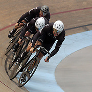 Ethan Mitchell, (front), Sam Webster, (Centre) and Simon Van Vel Thooven, New Zealand, in action during the Men Elite Team Sprint at the 2012 Oceania WHK Track Cycling Championships, Invercargill, New Zealand. 21st November 2011. Photo Tim Clayton