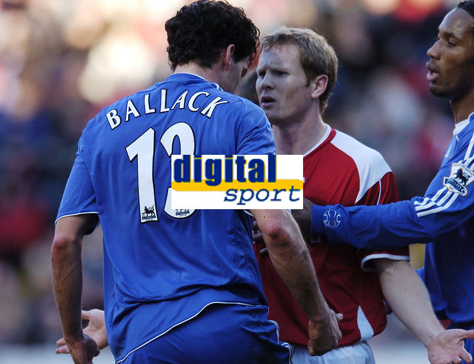 Photo: Olly Greenwood.<br />Charlton v Chelsea. The Barclays Premiership. 03/02/2007. Ballack squares up