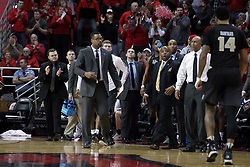 20 March 2017:  Johnny Dawkins and the bench during a College NIT (National Invitational Tournament) 2nd round mens basketball game between the UCF (University of Central Florida) Knights and Illinois State Redbirds in  Redbird Arena, Normal IL
