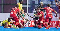 BHUBANESWAR  (INDIA) -   Belgium vs Australia .  day 2 Hero Champions Trophy Hockey.  Tom Boon of Belgium scores in the last second of the match (4-4). left Elliot van Strydonck of Belgium, richt John-John Dohmen  an Alexandre de Paeuw of Belgium . Photo KOEN SUYK