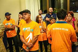 """PORTO ALEGRE, RS, BRASIL, 15-03-2018, 20h27'32"""":  O empresário Rubens Rebés e o advogado Tomaz Schuch são os novos dirigentes do AVANTE, no RS. A posse da direção estadual do partido contou com a presença do Deputado Federal e presidente nacional, Luís Tibê (MG), e ocorreu na noite de quinta-feira (15/3) no Hotel Intercity. AVANTE é um partido político brasileiro, fundado como Partido Trabalhista do Brasil (PTdoB) por dissidentes do Partido Trabalhista Brasileiro (PTB), em 1989. Seu número eleitoral é o 70. O novo nome, criado a partir do desejo das pessoas que lutam por um país que segue em frente, se aproxima ainda mais dos verdadeiros objetivos do partido, alicerçado ao longo de sua história e atrelado aos novos pilares: compromisso, prosperidade, humanidade, coletividade, diálogo, transparência e liberdade. (Foto: Gustavo Roth / Agência Preview) © 15MAR18 Agência Preview - Banco de Imagens"""