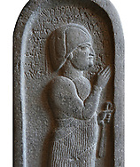 Neo Hittite basalt funerary stele from Neirab or Tell Afis, Syria, 7th cent BC. Louvre Museum. White background