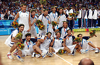 29/08/04 - ATHENS  - GREECE -  - BASKETBALL SEMIFINAL MATCH   - Indoor Olympic Stadium - <br />ARGENTINA win over ITALY and win the GOLD MEDAL<br />Argentine celebration after win the match.<br />© Gabriel Piko / Argenpress.com / Piko-Press