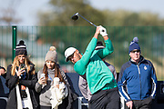 2nd October 2018, The Old Course, St Andrews, Scotland; Alfred Dunhill Links Championship, practice day; Brooks Koepka of the USA drives from the seventeenth tee during a practice round at the Dunhill Links Championship on The Old Course, St Andrews