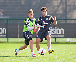 NEWPORT, WALES - Tuesday, October 7, 2014: Wales' George Williams and Joe Walsh during training at Dragon Park National Football Development Centre ahead of the UEFA Euro 2016 qualifying match against Bosnia and Herzegovina. (Pic by David Rawcliffe/Propaganda)