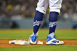 May 9, 2018 - Los Angeles, CA, U.S. - LOS ANGELES, CA - MAY 09: Los Angeles Dodgers Catcher Austin Barnes (15) with his Dodgers socks stands on third base during a MLB game between the Arizona Diamondbacks and the Los Angeles Dodgers on May 9, 2018 at Dodger Stadium in Los Angeles, CA. (Photo by Brian Rothmuller/Icon Sportswire) (Credit Image: © Brian Rothmuller/Icon SMI via ZUMA Press)