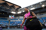 Serena Williams of the U.S. leaves the court after defeating Bulgaria's Tsvetana Pironkova in a Yarra Valley Classic tournament match ahead of the 2021 Australian Open at Melbourne Park in Melbourne, Australia.