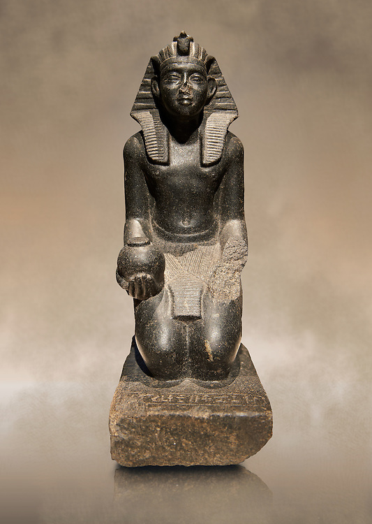 Ancient Egyptian granite sculpture of Pharaoh Sobekhotep V kneeling with an ointment vessel. 13-14 Dynasty Ancient Egypt, 1750-1700 BC . Neues Museum Berlin Cat No: AM 10645. .<br /> <br /> If you prefer to buy from our ALAMY PHOTO LIBRARY  Collection visit : https://www.alamy.com/portfolio/paul-williams-funkystock/ancient-egyptian-art-artefacts.html  . Type -   Neues    - into the LOWER SEARCH WITHIN GALLERY box. Refine search by adding background colour, subject etc<br /> <br /> Visit our ANCIENT WORLD PHOTO COLLECTIONS for more photos to download or buy as wall art prints https://funkystock.photoshelter.com/gallery-collection/Ancient-World-Art-Antiquities-Historic-Sites-Pictures-Images-of/C00006u26yqSkDOM
