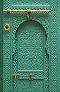 Green door of Mahkama du Pacha in Casablanca, Morocco