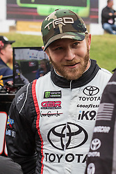 October 5, 2018 - Dover, DE, U.S. - DOVER, DE - OCTOBER 05: Jeffrey Earnhardt driver of the #96 Xtreme Concepts \ iK9 Toyota on the grid, waiting out a rain delay for qualifying for the Monster Energy NASCAR Cup Series Gander Outdoors 400 on October 05, 2018, at Dover International Speedway in Dover, DE. Qualifying was canceled after approximately a 40 minute delay. (Photo by David Hahn/Icon Sportswire) (Credit Image: © David Hahn/Icon SMI via ZUMA Press)