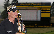 Johnnie Walker Golf Championship 2009 at Gleneagles ..30/08/09..Swede Peter Hedblom Winner of the Johnnie Walker Classic on the 18th, after the FInal Round of the Johnnie Walker Classic Golf Championship..Picture by Mark Davison/ PLPA