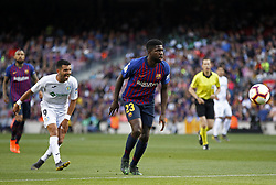 May 12, 2019 - Barcelona, Spain - Samuel Umtiti and Angel during the match between FC Barcelona angd Getafe, corresponding to the round 37 of the Liga Santander, played at the Camp Nou Stadium, on 12th May 2019, in Barcelona, Spain. (Credit Image: © Joan Valls/NurPhoto via ZUMA Press)