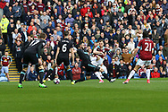 Ashley Barnes of Burnley tries a shot. at goal Premier League match, Burnley v West Bromwich Albion at Turf Moor in Burnley , Lancs on Saturday 6th May 2017.<br /> pic by Chris Stading, Andrew Orchard sports photography.