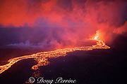 lava originating from Kilauea Volcano, erupts from fissure 8 in Leilani Estates residential subdivision, near Pahoa town, and flows through lower Puna as a river of lava moving toward Kapoho, Puna District, Hawaii ( the Big Island ), Hawaiian Islands, U.S.A.